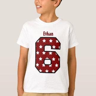 6th Birthday Star Pattern Big Number Name V03A9 T-Shirt