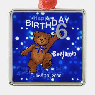 6th Birthday Teddy Bear Keepsake Silver-Colored Square Decoration