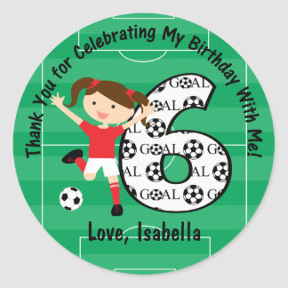 6th Birthday Thank You Red and White Soccer Girl Classic Round Sticker