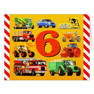 6th Birthday Trucks Big Greeting Card