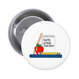 6th Grade Teacher Notebook Pinback Buttons