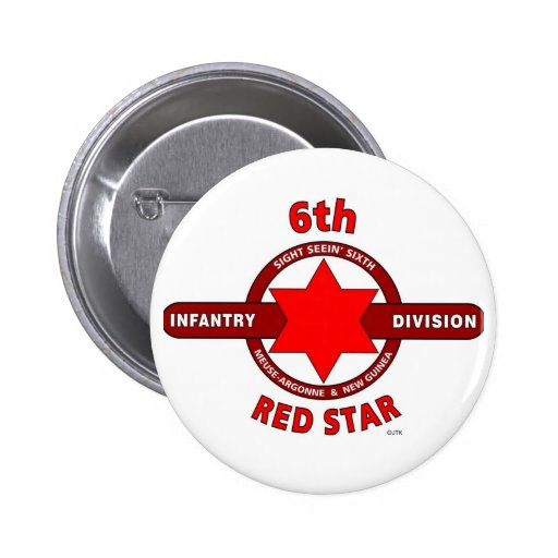 """6TH INFANTRY DIVISION """"RED STAR"""" WW I & WW II PINBACK BUTTONS"""