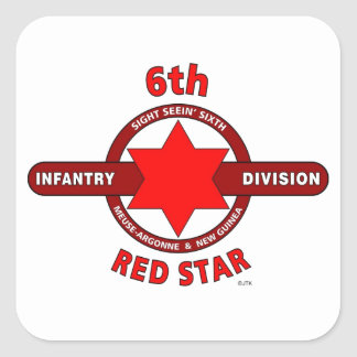 """6TH INFANTRY DIVISION """"RED STAR"""" WW I & WW II SQUARE STICKER"""
