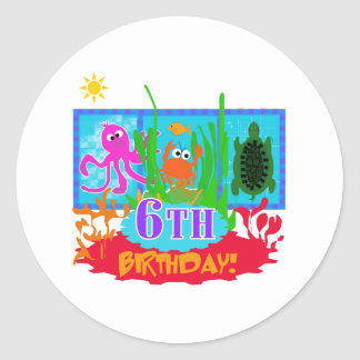 6th Undersea Adventure Birthday Classic Round Sticker