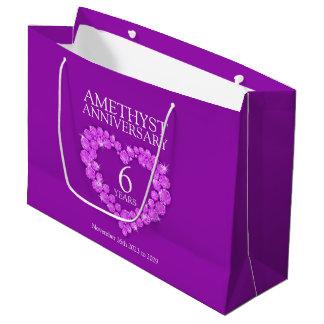 6th wedding anniversary amethyst photo purple bag