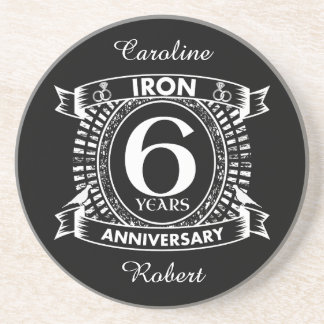 6th wedding anniversary distressed crest beverage coasters