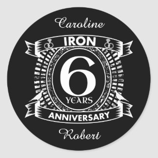 6th wedding anniversary distressed crest classic round sticker