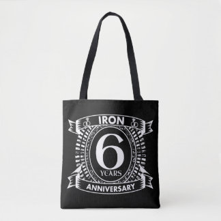 6th wedding anniversary distressed crest tote bag