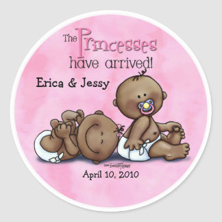 6x6-aa-twins-PRINCESSESarrived Classic Round Sticker
