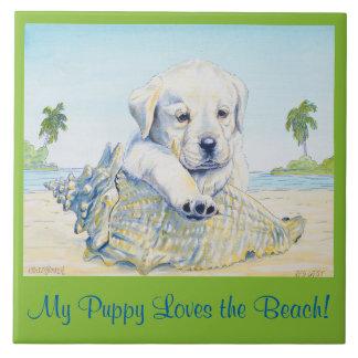 6x6 Tile,  My Puppy Loves the Beach! Ceramic Tile