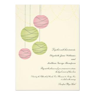 6x8 Pink & Green Paper Lanterns Day Wedding Invite