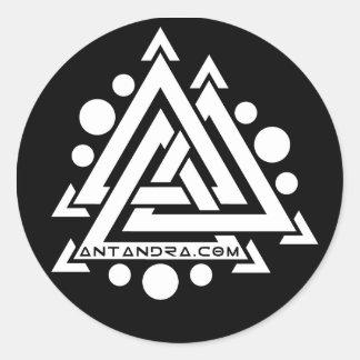 6x Round Antandra Stickers b/w