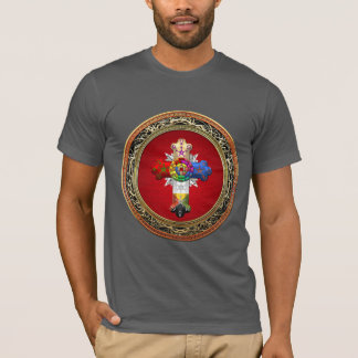 [700] Rosy Cross (Rose Croix) on Red & Gold T-Shirt
