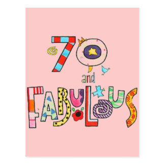 70 and Fabulous Happy 70th Birthday Postcard