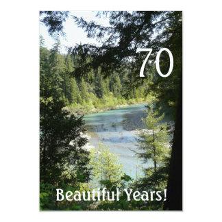 "70 Beautiful Years!-Birthday+Woodland Lake 5"" X 7"" Invitation Card"