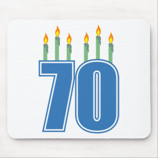 70 Birthday Candles (Blue / Green) Mouse Pad