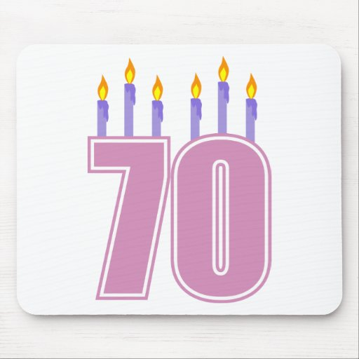 70 Birthday Candles (Pink / Purple) Mousepads