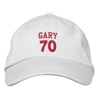 70 Birthday Custom Name Red Embroidery V15 Embroidered Hat