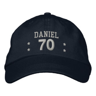 70 Birthday Custom Name RED SILVER V70A Embroidered Hat