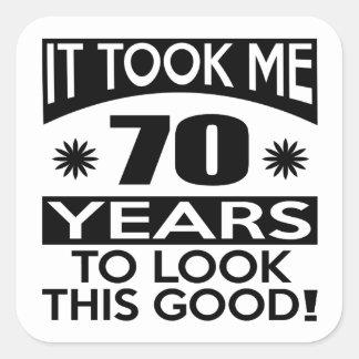 70 birthday designs square sticker