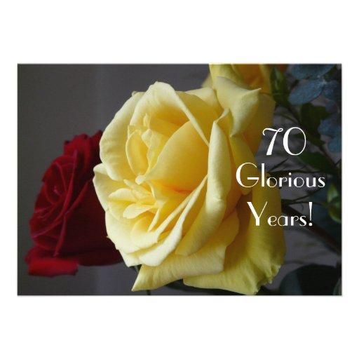 70 GloriousYears!-Birthday/Two Roses-with Quote Announcement