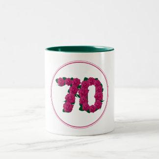 70 Number 70th Birthday Anniversary cute pink mug