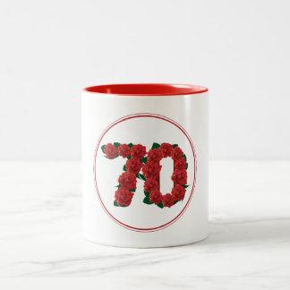 70 Number 70th Birthday Anniversary red mug