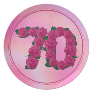 70 number birthday anniversary 70th floral plate
