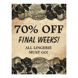 70 OFF Sale Flyer Rose Floral Lace