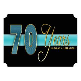"70 YEARS BIRTHDAY PARTY INVITATION AQUA/BLACK 5"" X 7"" INVITATION CARD"