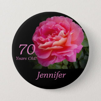 70 Years Old, Pink Rose Button Pin