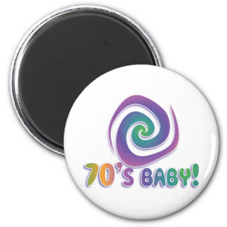 70's baby GROOVY! with swirl Fridge Magnet