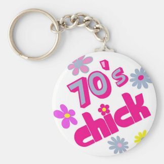70's Chick Basic Round Button Key Ring