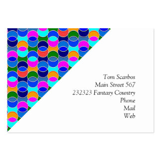 70s Circles blue colorful Business Card Template