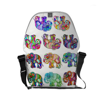 70s Colorful Pyschedelic Ornamental Elephants Messenger Bags