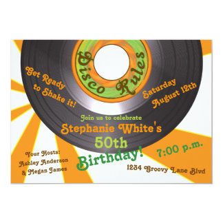 70s Disco Groovy 45 Record 50th Birthday Party 13 Cm X 18 Cm Invitation Card
