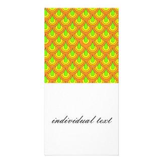 70s green orange pattern photo greeting card