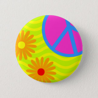 70's Hippie Peace Sign and Flowers 6 Cm Round Badge