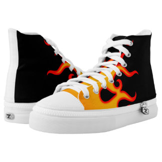 70s Hot Rod Custom Flames Sneakers Red and Black
