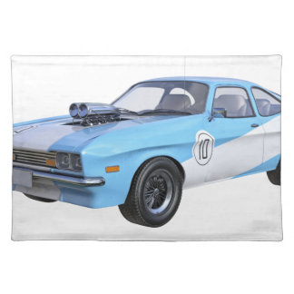 70's Muscle Car in Blue and White Placemat