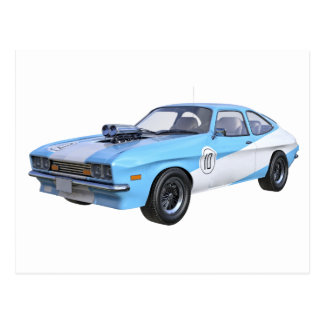70's Muscle Car in Blue and White Postcard