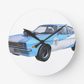 70's Muscle Car in Blue and White Round Clock