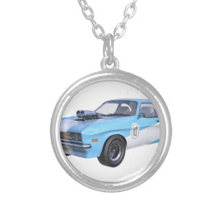 70's Muscle Car in Blue and White Silver Plated Necklace