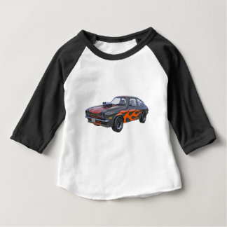 70's Muscle Car in Orange Flames and Black Baby T-Shirt
