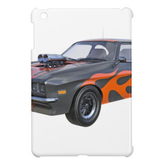 70's Muscle Car in Orange Flames and Black Cover For The iPad Mini