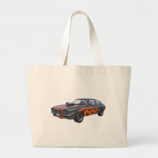 70's Muscle Car in Orange Flames and Black Large Tote Bag