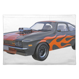 70's Muscle Car in Orange Flames and Black Placemat