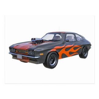 70's Muscle Car in Orange Flames and Black Postcard