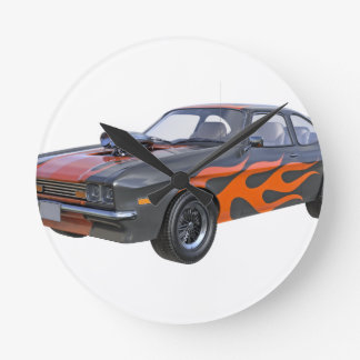 70's Muscle Car in Orange Flames and Black Round Clock