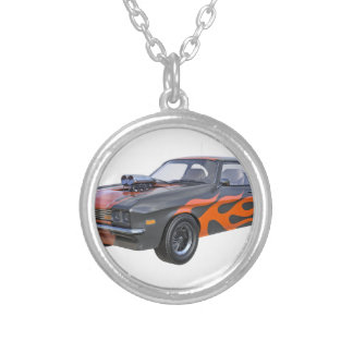70's Muscle Car in Orange Flames and Black Silver Plated Necklace